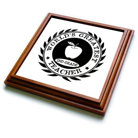 3dRose trv_165015_1 Worlds Greatest 2nd Grade Teacher Award Second Grade 2 Thank You Gift Trivet with Ceramic Tile, 8 by 8