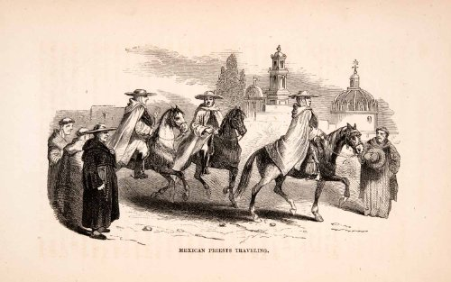 1856 Wood Engraving Mexico Mexican Spanish Religious Priests Traveling Horseback - Original Wood Engraving