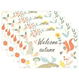 Top Carpenter Welcome Autumn Animals Doodle Place Mats Washable Heat Resistant Polyester Table Mats 12'' x 18'', Set of 6