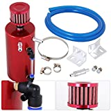 #2: AJP Distributors Universal 300ml Oil Catch Can Tank Reservoir Cylinder Breather Filter Hose Kit Red High Capacity 300ml
