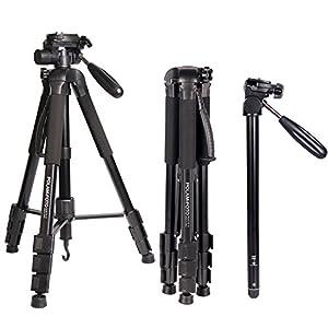 "POLAM 70""/176.5cm 2-in-1 Tripod Monopod-Camera Tripod AluminumTravel Tripod with Bag for Canon/Nikon/Sony DSLR/SLR Camera"