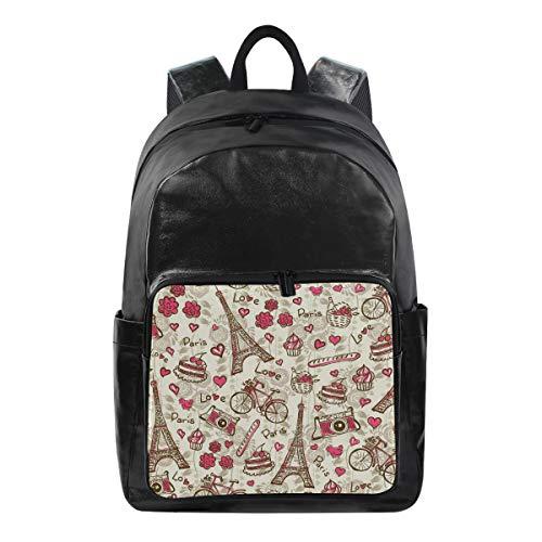 Oarencol Vintage French France Paris La Tour Eiffel Tower Cycle Flower Backpacks Travel Laptop Daypack Waterproof School College Bag Bookbags