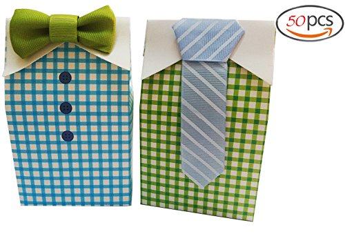 Bow Tie Candy Gift Boxes Boy Baby Shower Birthday Party Favor Boxes with Blue Green Bow Tie Lovely Newborn Baby Candy Box (mixed) (Gingham Favor Boxes)