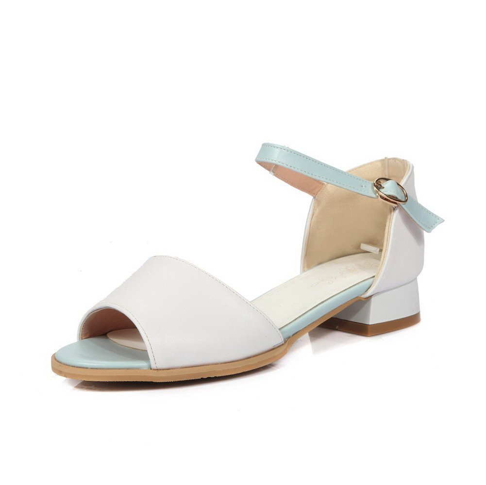 WeiPoot Women's Low-heels Soft Material Assorted Color Buckle Open Toe Sandals, White, 38