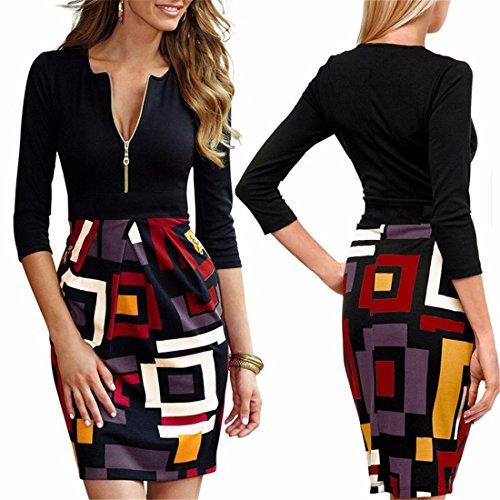 Zipper Stitching Geometric Kleid Frauen Baumwolle Bodycone Bleistift Cocktailkleider