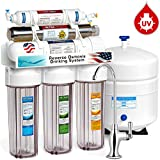 Express Water Ultraviolet Reverse Osmosis Water Filtration System – 6 Stage RO UV Water Sterilizer with Faucet and Tank –  UV Under Sink Water Filter – 100 GPD with Clear Housing