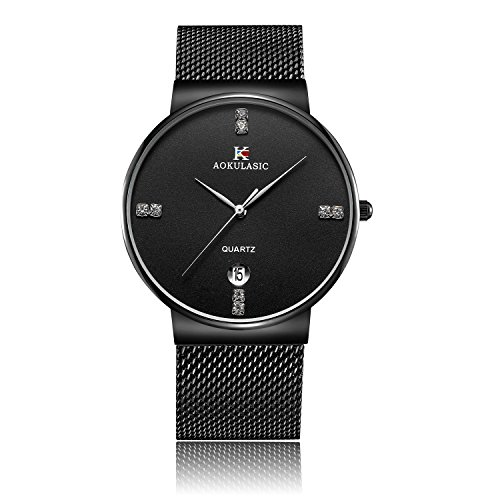 YIIYAA Men's Wrist Quartz Analog Watch Waterproof 30M Business Casual Watches Luxury Watch for Men with Stainless Steel Case Black Belt - Glasses For Face Choosing Your