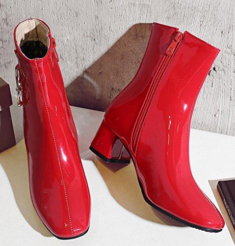 Aisun Donna Trendy Brunito Stivaletto Punta Quadrata Allinterno Zip Tacco Medio Stivaletto Tacco Con Cerniera Rosso