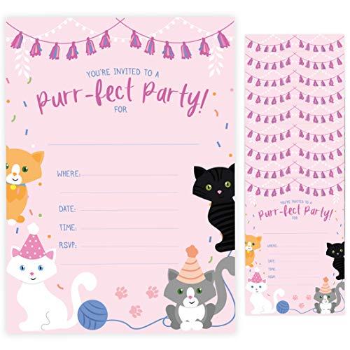 Cat Kitten Kitty Happy Birthday Invitations Invite Cards
