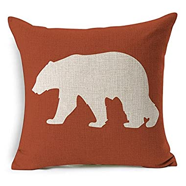 HT&PJ Decorative Cotton Linen Square Throw Pillow Case Cushion Cover Red Background Bear Printed 18 x 18 Inches