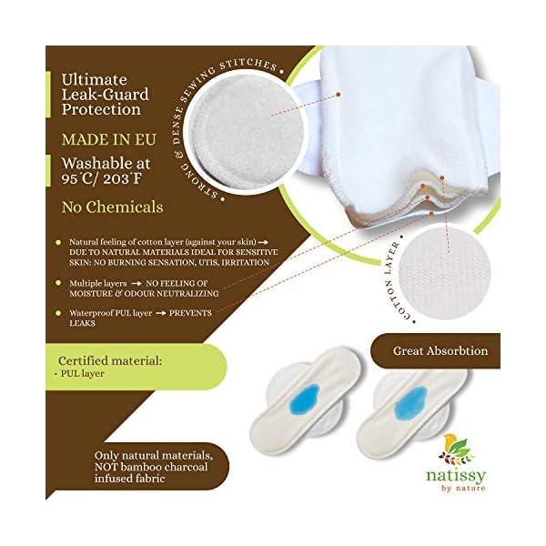 Assorbenti lavabili mestruale di cotone, in pacchetto da 6 pezzi (di taglia S e M), PRODOTTI IN EU; assorbenti igienici… 2 spesavip