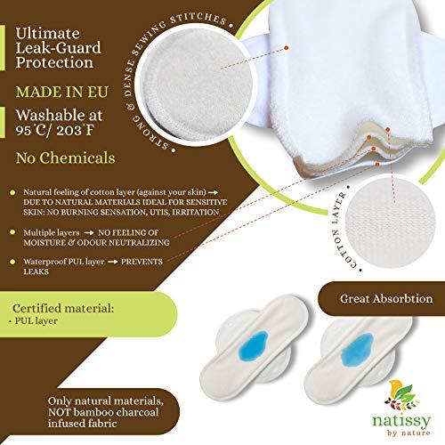 Serviette hygiénique lavable bio coton (Single L); serviette hygiénique réutilisable longue FABRIQUÉE EN UE; protection hygiénique lavable pour les règles, la nuit, le flux abondant