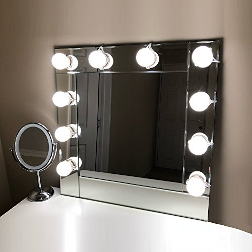 Hollywood Style Makeup Lights Kit for Vanity on Bathroom Wall or Dressing Cosmetic Table Mirrors, Dimmable Sticky LED Light Bulbs, Linkable & Extendable, Mirror Not Included