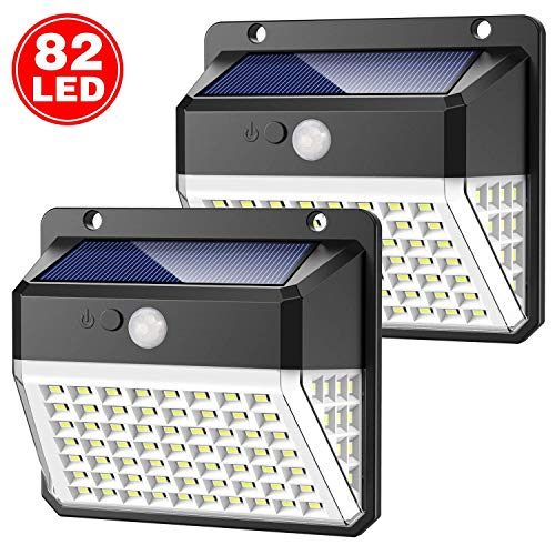 - Solar Lights Outdoor, Upgraded 82 LED Security Lights 3 Modes Wireless Motion Sensor Light with 270° Wide Angle Solar Powered Lights Waterproof Wall Lights for Garden, Front Door, Pathway,Yard(2 Pack)