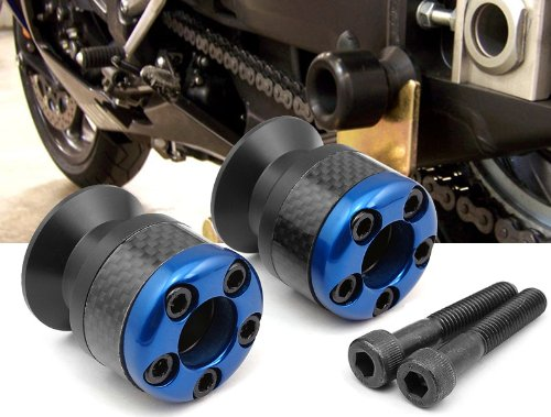 blue CNC Aluminum Carbon Fiber Swing Arm Spool Sliders Protector Fit For Yamaha YZF R6 1999-2004 - Fiber Swing Arm