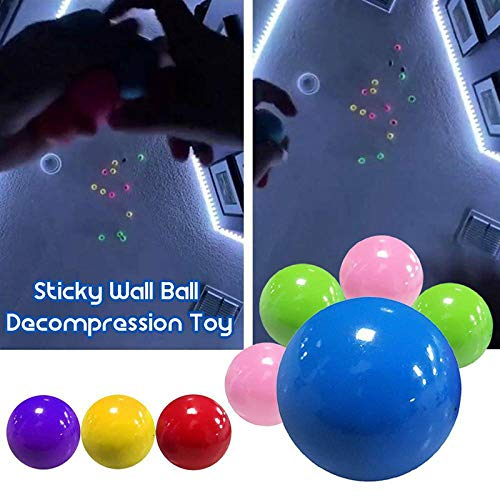 Yumfr Stress Relief Balls Fluorescent Sticky Target Balls Soft Ball Toys for Exercise and Stress Relief,Ideal for Kids and Adults 5pcs