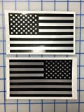 """I Make Decals™ - Larger Ghosted US American subdued flag, FBA, Prime, silver with ghosted black print, 3"""" X 5"""", pair, Hard Hat, lunch box, vinyl decal car sticker"""