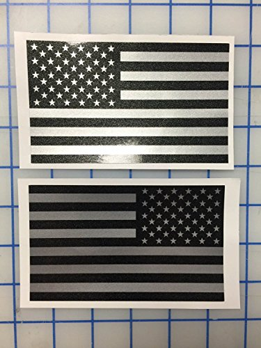I Make Decals™ - Larger Ghosted US American subdued flag, FBA, Prime, silver with ghosted black print, 3