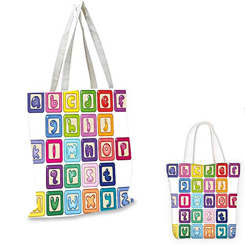Educational non woven shopping bag Colorful Lower Case Alphabet Blocks Cute Kids Font Abc Cartoon Style Typography canvas tote bagMulticolor. 16