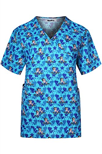 Minty Mint Women's Medical Scrub Printed V-Neck Mock Wrap Top Cartoon Betty Boop Blue L(BBTTOP09) - Mock Wrap V-neck Scrub Top