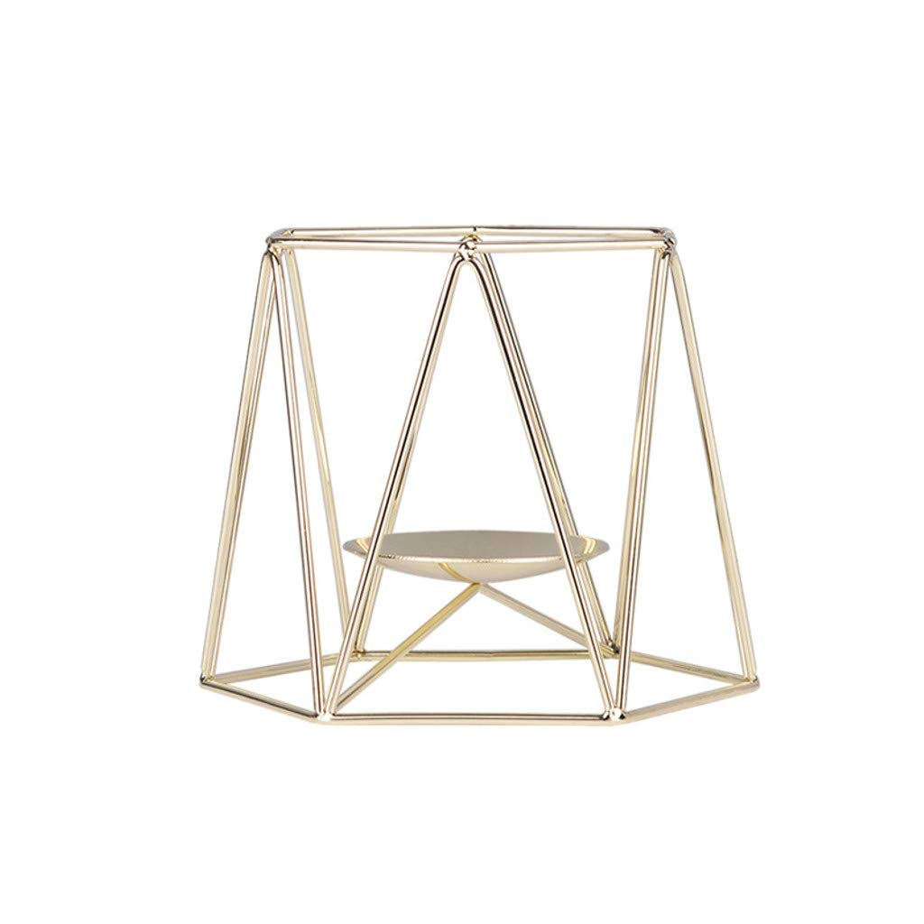 Longay Candle Holder Nordic Style Wrought Iron Geometric Candle Holders Home Decoration Metal Crafts (S, Gold)