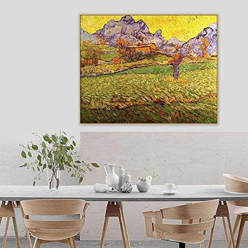 HNBLSHM Un Prado en Las montanas Le Mas de Saint Paul Cuadros Famoso Maestro Vintage Lienzo Pintura impresion Pared Arte hogar Decor 40x50cm Sin Marco