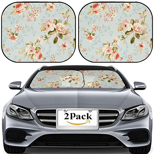 MSD Car Sun Shade for Windshield Universal Fit 2 Pack Sunshade, Block Sun Glare, UV and Heat, Protect Car Interior, Rose Floral Tapestry Romantic Texture Background Photo 20200316
