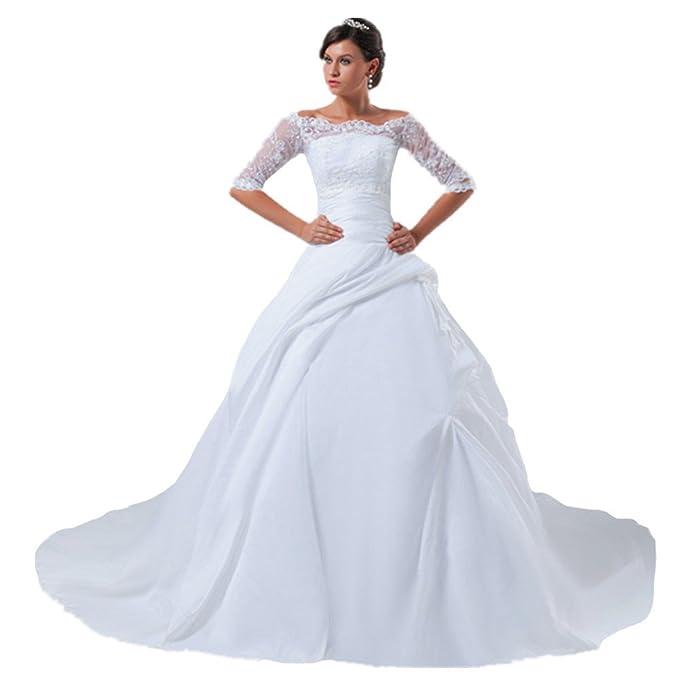 jspoir melodiz Mujer Tres cuartos aermel satén boda Vestidos Vestidos de novia con punta Weiß 50