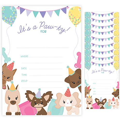 Puppy Style 1 Dog Doggy Happy Birthday Invitations Invite Cards (10 Count) With Envelopes Boys Girls Kids Party (10ct)