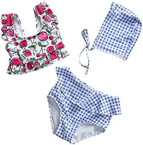 f78e4ed96b1 famuka Toddler Kids Girl Bathing Suit, 3-Piece Bikini Set with Swim Cap