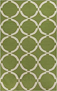 3.5' x 5.5' Coupled Circles Fern Green and White Hand Woven Wool Area Throw Rug