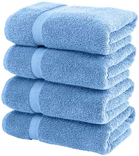 White Classic Luxury Bath Towels Large – Cotton Hotel spa Bathroom Towel | 27×54 | 4 Pack | Light Blue