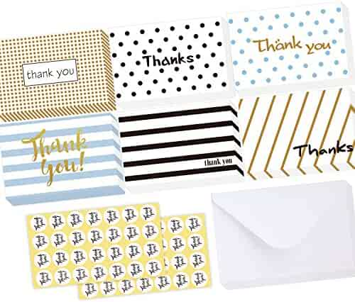 Ohuhu 48 Assorted Thank You Cards, New Version Folded Thank U Greeting Card of 6 Designs, Blank Inside Note Cards Card Stock W/ 48 Envelopes & 48 Stickers for Wedding, Baby Shower, Graduation