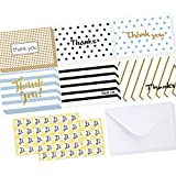 Ohuhu 48 Assorted Thank You Cards Thanksgiving Greeting Card of 6 Designs, Blank Note Cards Assortment Postcard Style Card Stock W/ 48 Envelopes 48 Stickers for Wedding, Baby Shower, Thanksgiving Day