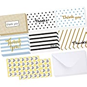 Ohuhu 48 Folded Thank You Cards, Thank U Cards of 6 Designs, Greeting Cards Style W/ 48 Envelopes and 48 Pcs Envelope Thank You Stickers for Wedding, Graduation, Baby Shower