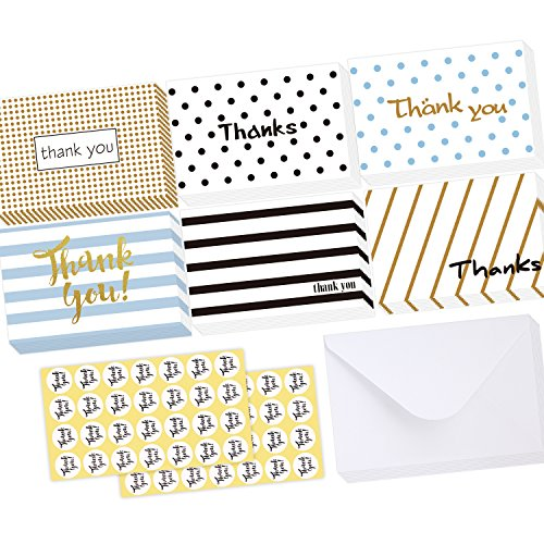 Ohuhu 48 Assorted Thank You Cards, Postcard Style Thank U Greeting Card of 6 Designs, One Blank Side Note Cards Card Stock W/ 48 Envelopes & 48 Stickers for Wedding, Baby Shower, Graduation (Sticker Cards 1 And)