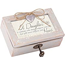 Daughter Outgrow Heart Never Distressed Wood Locket Jewelry Music Box with Tune You Light Up My Life