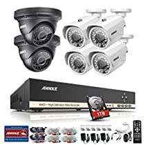 Annke 8CH 720P Security Camera System 1080N Digital Video Recorder with 1TB Hard Drive and (6) 720P 1280TVL Metal Housing Weatherproof Cameras, HDMI Output, QR Code Scan to Remote View