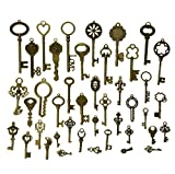 Makhry 42Pcs Jewelry Making Charms Craft keys Decorative Key Skeleton Bronze Key in Antique Bronze Style for Wedding Graduation Christmas (42pcs)