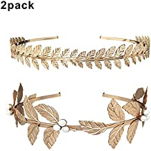 (2 Pack) Roman Goddess Leaf and Star Branch Dainty Bridal Hair Crown HeadBand