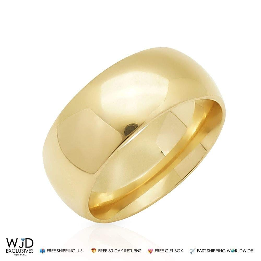 14K Solid Yellow Gold 9mm High Polish Classic Wedding Band Ring Size 8