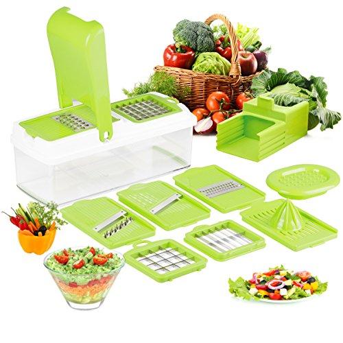 Duomishu Multi Schneider Gemüsehobel und Reibe Handschutz küchenreibe Raspel Hobel für schneide, hacke, würfle, reiben und julienne ect
