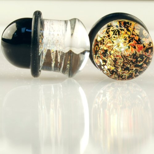 Pair of Glass Single Flared Foil Galaxy Plugs: 9/16' Copper