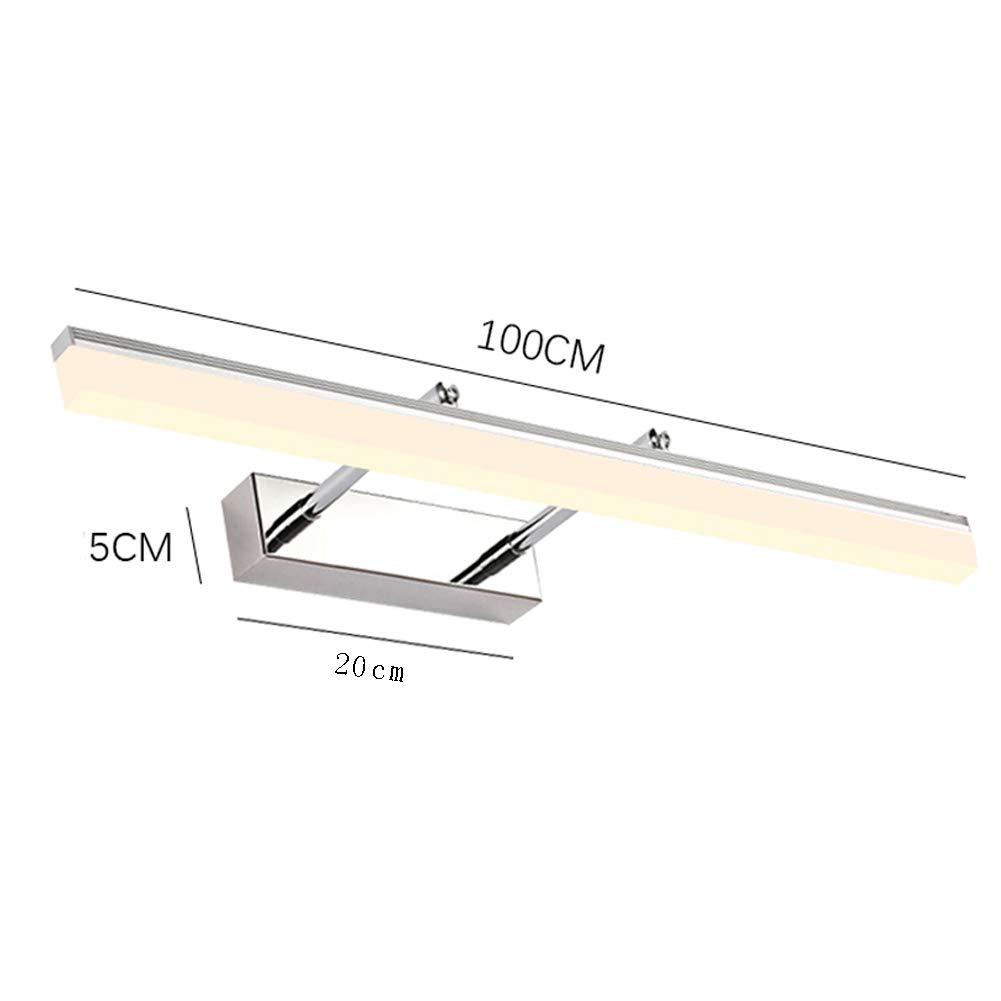 31.5in LED Color cromo L/ámpara de espejo ba/ño Anti-niebla Impermeable Luz de pared 6000k 16w L/ámpara de pared ba/ño Accesorios de iluminaci/ón de Para Cuarto de ba/ño Maquillaje-luz blanca 80cm