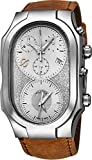 Philip Stein Signature Mens Swiss Made Dual Time Zone Quartz Chronograph Watch - Natural Frequency Technology Provides More Energy and Better Sleep - Silver Face with Luminous Hands Brown Leather Band