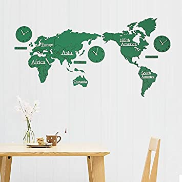 Amazon y hui the world map wall clock living room silent clock y hui the world map wall clock living room silent clock tv background wall decor gumiabroncs Image collections
