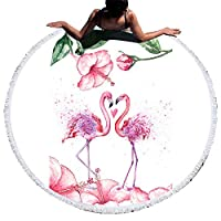 hSport Flamingo Printed Round Beach Towel Blanket Microfiber Yoga Mat with Tassels Ultra Soft Super Water Absorbent Multi-Purpose Towel