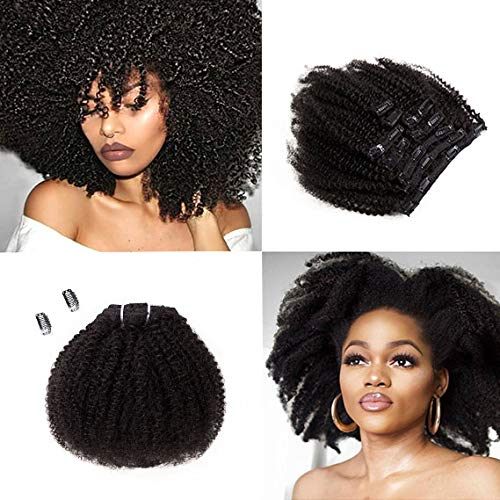 SAGA QUEEN Hair Mongolian Afro Kinky Curly Clip In Hair Extensions 8pcs 18clips 120g/bundle Mongolian Virgin Remy Human Hair (1 bundle 8inch, natural black) ()