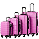 Coolife Luggage 3 Piece Set Suitcase Spinner Hardshell Lightweight (family set-pink1)