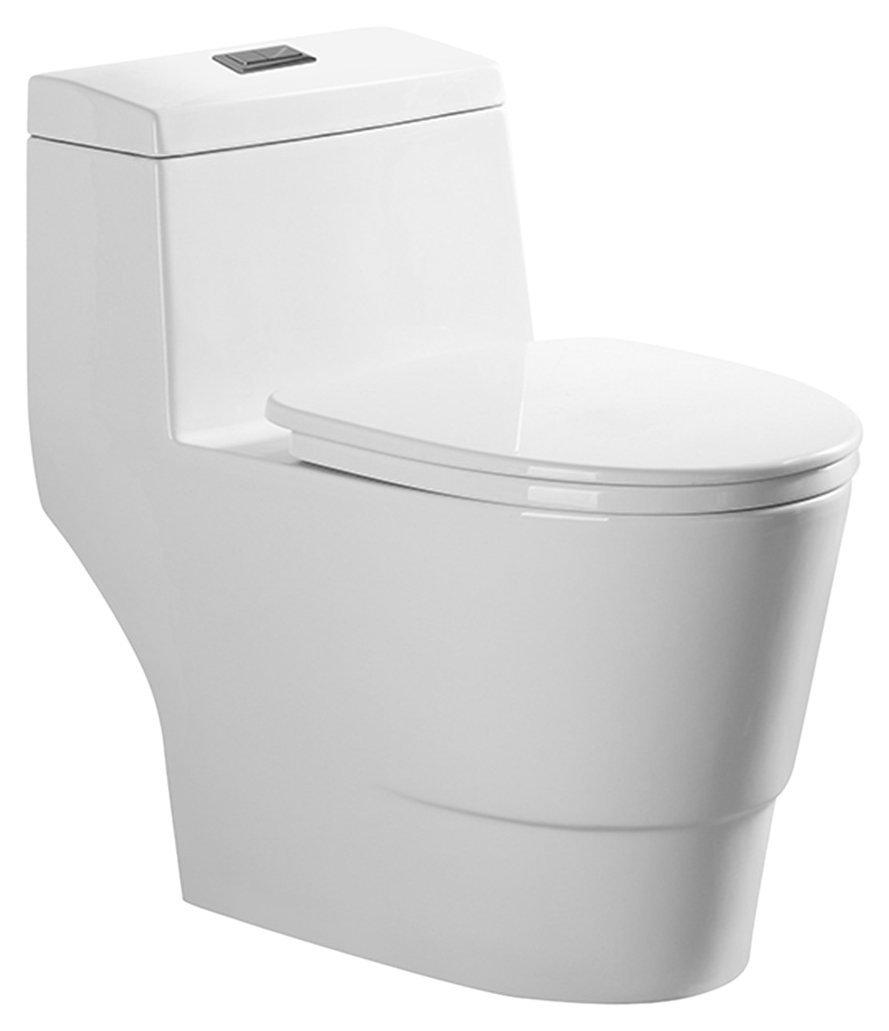 Woodbridgebath T-0019 Dual Flush Elongated One Piece Toilet with Soft Closing Seat, Comfort Height, Water Sense, Modern design